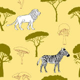 Seamless pattern with savanna animal Royalty Free Stock Photos