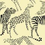 Seamless pattern savanna animals. Seamless pattern with savanna animals. Hand drawn vector cheetah, leopard and zebra in safari park. Vector Illustration stock illustration
