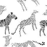 Seamless pattern with savanna animals Royalty Free Stock Photos