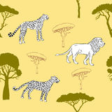 Seamless pattern with savanna animals Royalty Free Stock Photography