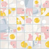 Seamless pattern with saving pigs and money. Seamless pattern with saving pigs and money in puzzle. Vector background Royalty Free Stock Image