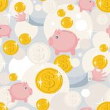 Seamless pattern with saving pigs and money. Vector background Stock Photo