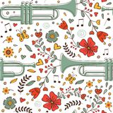 Seamless pattern with saxophone and flowers Stock Image