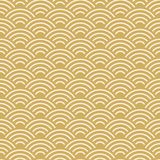 Seamless pattern scales simple Nature abstract texture with japanese wave circle pastel colors orange beige mustard background. Te. Xtile print, web page fill Royalty Free Stock Image