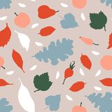 Seamless pattern in Scandinavian style. Autumn fruits and berries, pears, apples, leaves. Vector illustration Stock Images