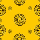Seamless pattern scarab beetle egypt Stock Images