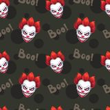 Seamless pattern with scary evil clown faces. On the black background. Vector texture Stock Photography