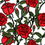 Vector seamless retro pattern, flowers rose. Can be used for web page background, pattern fills, wallpaper, surface vector illustration