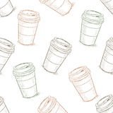 Seamless pattern scetch of coffee to go Stock Image