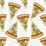 Seamless pattern scetch and color pizza Royalty Free Stock Photos