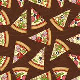 Seamless pattern scetch with four types of pizza Stock Images