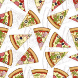 Seamless pattern scetch with four types of pizza Royalty Free Stock Photos
