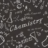 Seamless pattern on school board. Freehand drawing. Chemistry el Royalty Free Stock Image