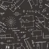 Seamless pattern on school board. Freehand drawing. Physics elem Stock Photo