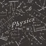 Seamless pattern on school board. Freehand drawing. Physics elem Stock Images