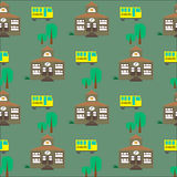 Seamless pattern with school building and bus Royalty Free Stock Photos