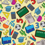 Seamless Pattern with school doodles Royalty Free Stock Photography