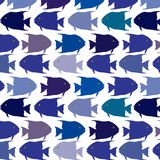 Seamless  pattern school of fish. School of fish swinnig in reverse direction in different blue colours Stock Photos