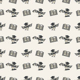 Seamless pattern1036. Seamless pattern. School, graduation and educational texture. Pattern with repeating owls and books. Concept of education, knowledge Royalty Free Stock Images