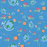 Seamless Pattern with School Items Stock Photo