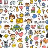 Seamless pattern School, kindergarten. Happy children. Creativity, imagination doodle icons with kids. Play, study, grow Stock Image