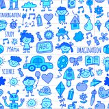 Seamless pattern School, kindergarten. Happy children. Creativity, imagination doodle icons with kids. Play, study, grow Royalty Free Stock Images