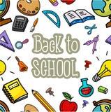 Seamless pattern with school stuffs. Illustration of Seamless pattern with school stuffs Stock Photography