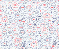 Seamless pattern in school style. Hand drawn set of speech bubbl Stock Images