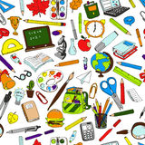 Seamless pattern of school supplies Royalty Free Stock Photography