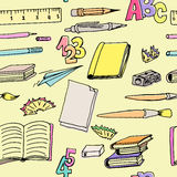 Seamless pattern school supplies Stock Image