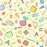 Seamless Pattern with School Supplies. Hand Drawn Seamless Pattern with School Supplies Distributed Chaotically on the Copybook Squared Paper Royalty Free Stock Photography