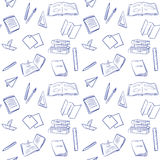 Seamless pattern with school supplies Stock Photos