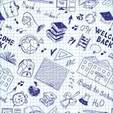 Seamless pattern of school supplies in notebook royalty free illustration