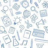 Seamless pattern with school supplies, outline design. Vector illustration stock illustration