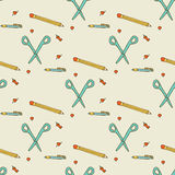Seamless pattern. School supplies Stock Photo