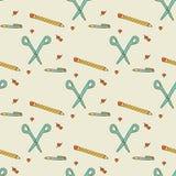 Seamless pattern. School supplies. Seamless pattern: scissors, pencil, pen, heart, thumbtack School supplies vector illustration