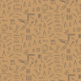 Seamless pattern with school supplies Stock Photography