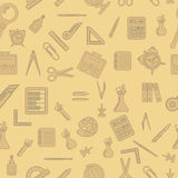 Seamless pattern with school supplies Royalty Free Stock Photo