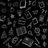 School seamless pattern with chalk doodles style on black background. Seamless pattern with school supplies, white chalk hand drawn doodles on black background stock illustration