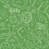 Seamless pattern with school things. Green seamless pattern with school things Stock Photos