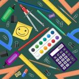 Seamless pattern of school tools. Vector illustration. Stock Photo