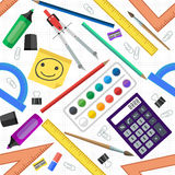 Seamless pattern of school tools. Vector illustration. Stock Images