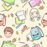 Seamless pattern with schoolchildren and school accessories Stock Image