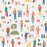 Seamless pattern with schoolgirls and schoolboys with books, backpacks and school bags. Back to school vector poster in flat style royalty free illustration