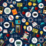 Seamless pattern of science, education background Royalty Free Stock Photo