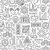 Seamless Pattern with Science Line Icons stock illustration