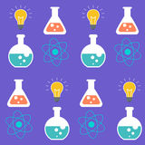 Seamless pattern. Science symbols over purple background. Stock Photography