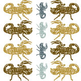 Seamless pattern of scorpion. On white background Stock Photo