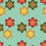 Seamless pattern with scrapbook flowers Stock Image