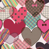 Seamless pattern of scrapbook hearts Stock Photos